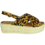 Karoline Leopard Hessian Wedge Grip Sole Sandals