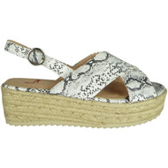 Karoline White Snake Hessian Wedge Grip Sole Sandals