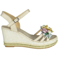 Caroline Beige Peep Toe  Wedge Sole Sandals