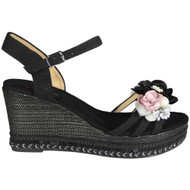Caroline Black Peep Toe  Wedge Sole Sandals
