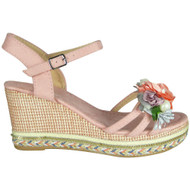 Caroline Pink Peep Toe  Wedge Sole Sandals