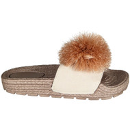 Charline Rose Gold Peep Toe Pom Pom Mules Sliders