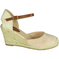 Cassie Beige Mid Heel Wedge Sandals