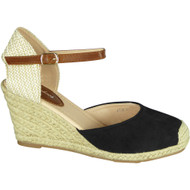 Cassie Black Mid Heel Wedge Sandals