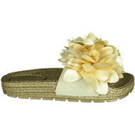 Cordelia Gold Peep Toe Mules Comfy Sliders