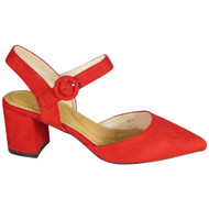 Daphie Red Mid Heel Pointed Summer Sandals