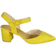 Daphie Yellow Mid Heel Pointed Summer Sandals