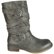 Jacquelyn Grey New Biker Buckle Pull On Shoes