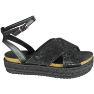 Delia Black Peep Toe Casual Comfy Sandals