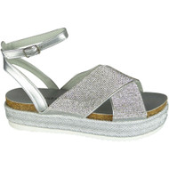 Delia Silver Peep Toe Casual Comfy Sandals