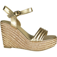 Adeline Gold Peep Toe Casual Comfy Sandals