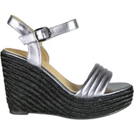 Adeline Pewter Peep Toe Casual Comfy Sandals