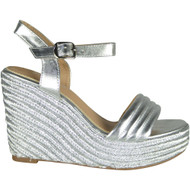 Adeline Silver Peep Toe Casual Comfy Sandals