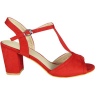 Denise Red High Heel Party Sandals