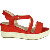 Dolores Red Espadrilles Mid Heel Sandals