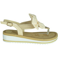Edye Beige Bow Comfy Flat Summer Sandals