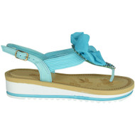 Edye Blue Bow Comfy Flat Summer Sandals
