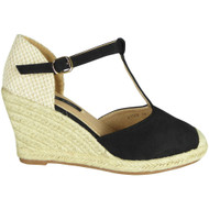 Elaine Black Espadrilles Summer Sandals