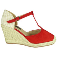 Elaine Red Espadrilles Summer Sandals