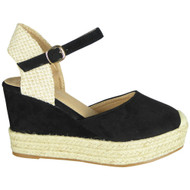 Alaine Black Espadrilles high Heel Sandals