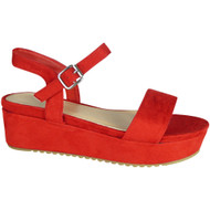 Elinor Red Platform Mid Heel Summer Sandals