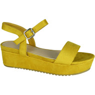 Elinor Yellow Platform Mid Heel Summer Sandals