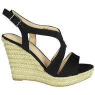 Eleonora Black Espadrilles High Heel Sandals