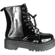 Elisia Black Chelsea Goth Punk Shinny Shoes