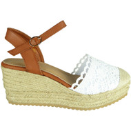Elvine White Espadrilles High Heel Sandals