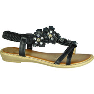 Elvira Black Comfy Low Heel Summer Sandals