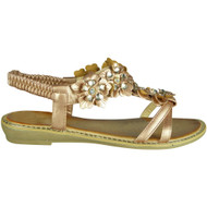Elvira Champagne Comfy Low Heel Summer Sandals
