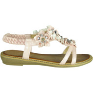 Elvira Pink Comfy Low Heel Summer Sandals