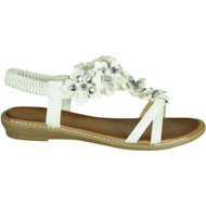 Elvira White Comfy Low Heel Summer Sandals