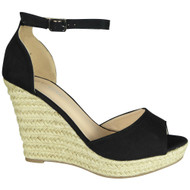 Elvie Black Espadrilles High Heel Sandals