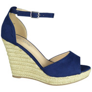 Elvie Blue Espadrilles High Heel Sandals