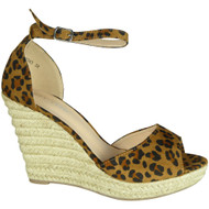 Elvie Leopard Espadrilles High Heel Sandals