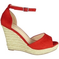 Elvie Red Espadrilles High Heel Sandals