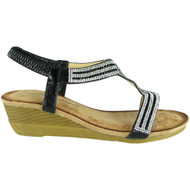 Evelina Black Comfy Mid Heel Peep Toe Summer Sandals