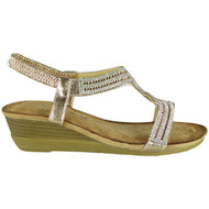 Evelina Champagne Comfy Mid Heel Summer Sandals