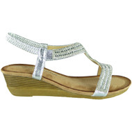 Evelina Sliver Comfy Mid Heel Peep Toe Summer Sandals