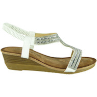 Evelina White Comfy Mid Heel Peep Toe Summer Sandals