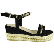 Gabrielle Black Bling Espadrilles Summer Sandals