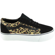 Jeannie Leopard - Blk Flat Fitness Gym Trainers