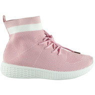 Jeannetta Pink Fitness Sock Detail Trainers