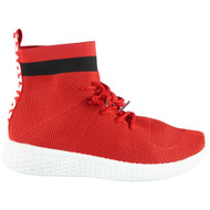 Jeannetta Red Fitness Sock Detail Trainers