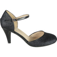 Julie Black Party Glitter Closed Toe Sandals