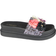 Julianne Grey Peep Toe Casual Comfy Sliders