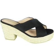 Justina Black Peep Toe Casual Comfy Sliders