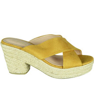 Justina Yellow Peep Toe Casual Comfy Sliders