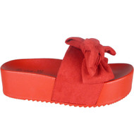 Karen Red Peep Toe Comfy Casual Sliders